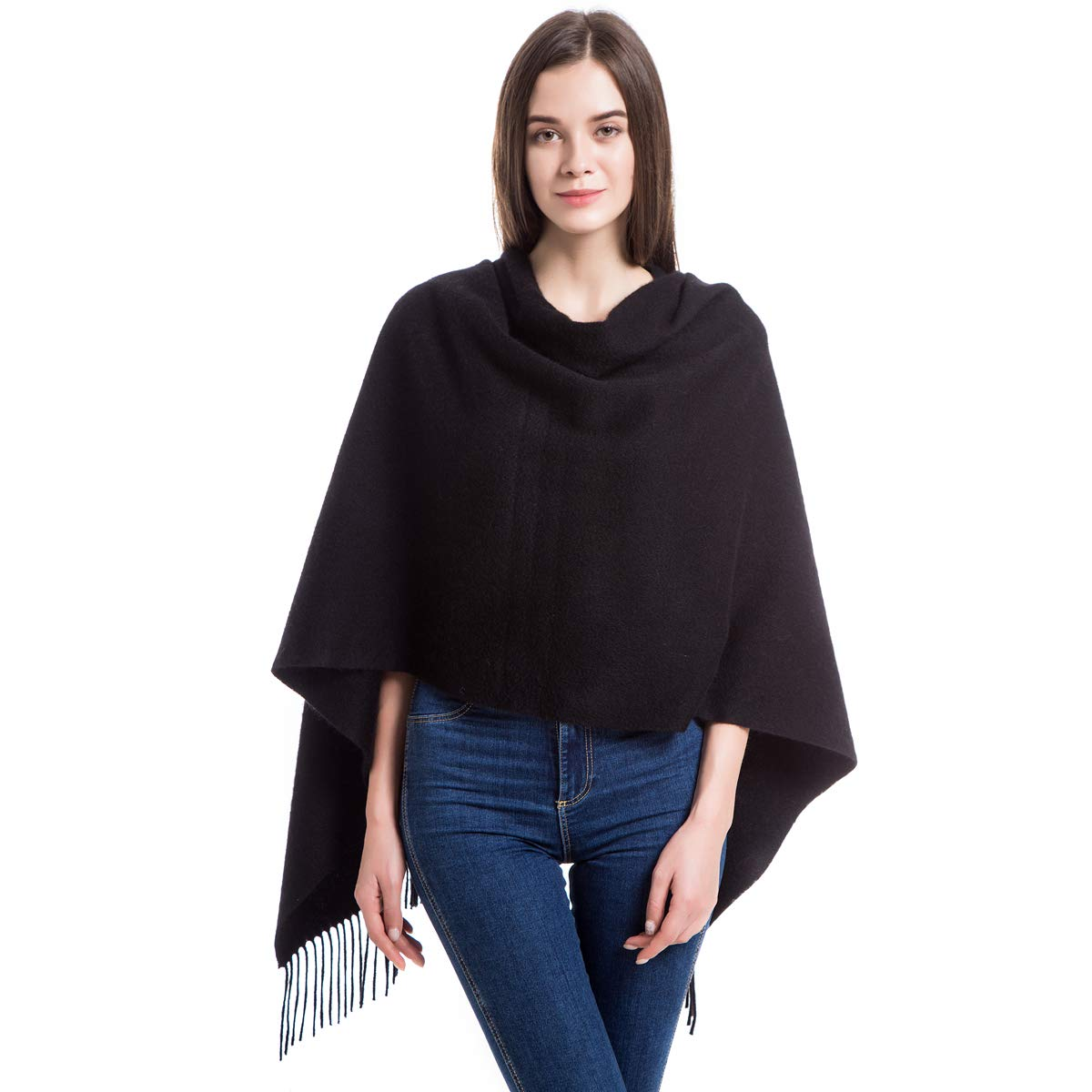 Black 79in x 28in Wool Scarf Winter Extra Large Cashmere Wrap Shawl Stole for Women