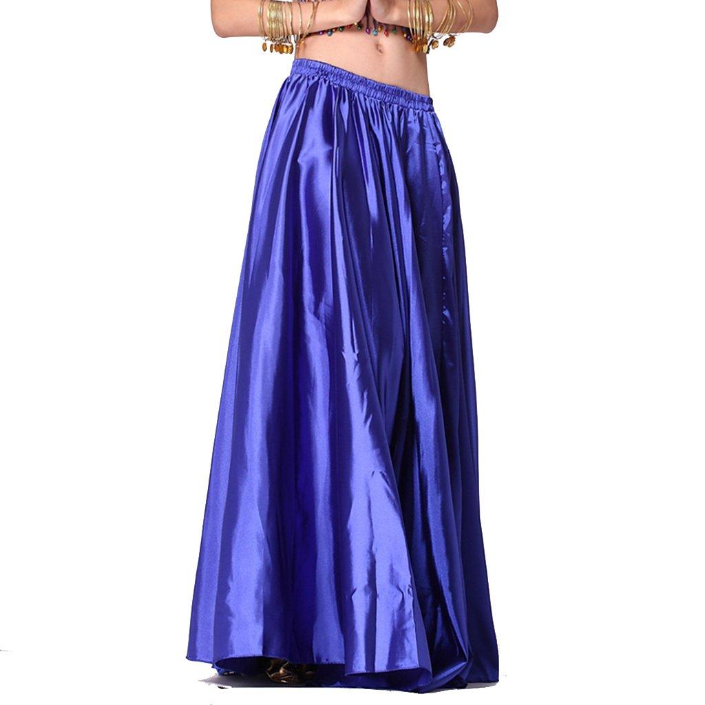 Rose Pink Belly Dance Skirt Tribal Dance Costumes Satin Long Swing Maxi Skirt Full Circle Skirt
