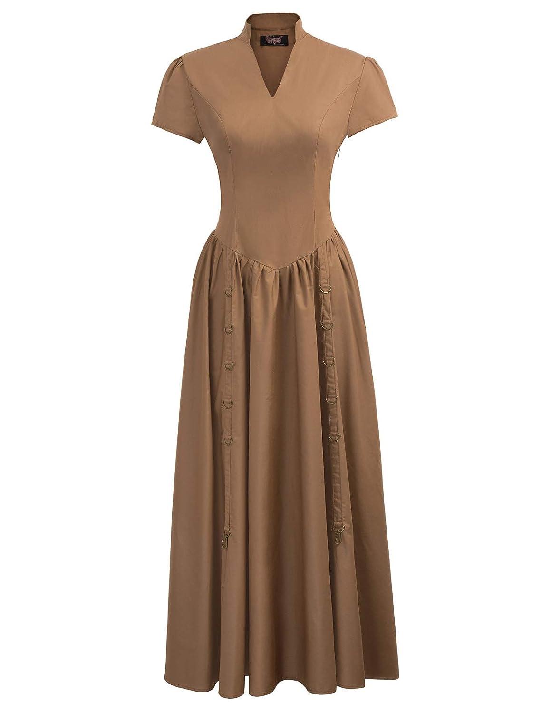 Steampunk Dresses   Women & Girl Costumes Women Victorian Vintage Steampunk Short Sleeve V-Neck Long Dress $43.99 AT vintagedancer.com