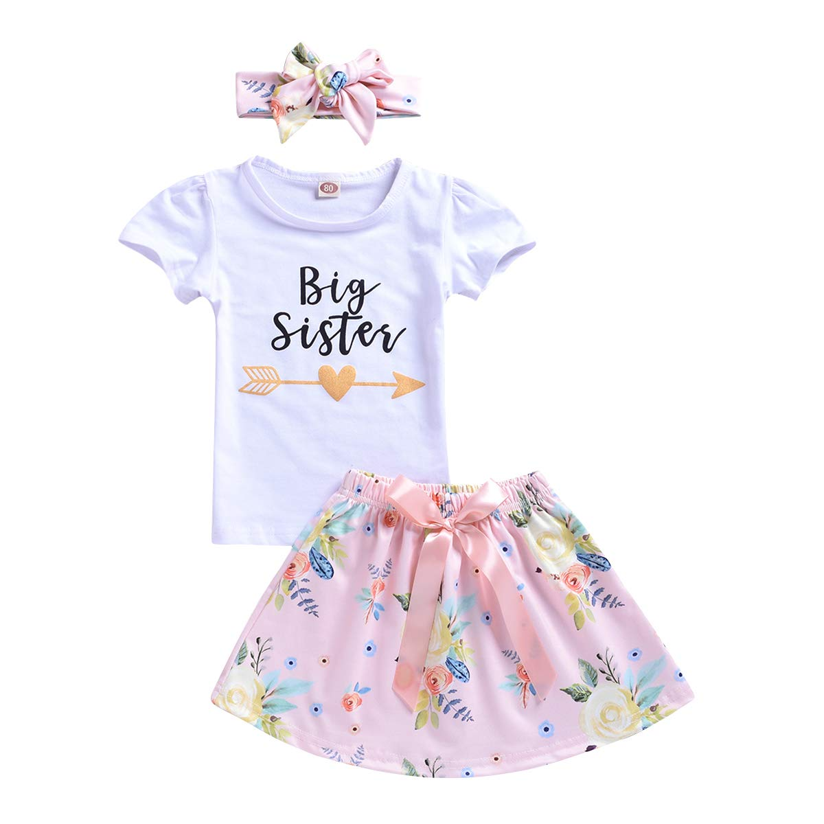 Baby Little Big Sister Matching Outfit Floral T-Shirt Skirt Romper Shorts Set with Headband