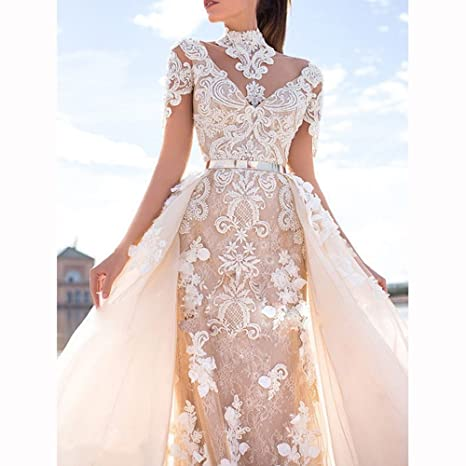 738339a40ebb Shushaliying Women's Retro Detachable Lace Ball Gown Cap Sleeves Applique  Mermaid Prom Gown V Back Train Bridal Dress at Amazon Women's Clothing  store: