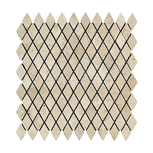 - Ivory (Light) Travertine 1 X 2 Diamond (Rhomboid) Mosaic Tile, Tumbled