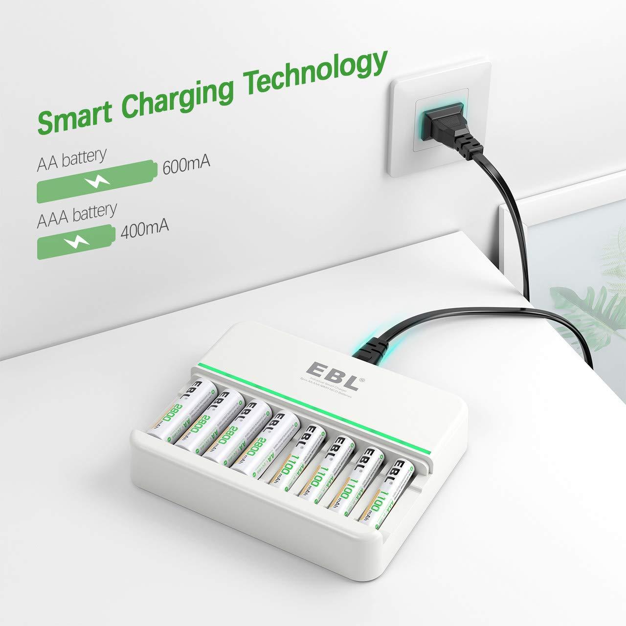 Amazon.com: EBL - Cargador de batería recargable AA AAA (600 ...