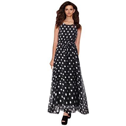 Coohole Womens Fashion Polka Dots Bodycon Chiffon Dress Ladies Evening Party Long Dress (Black,