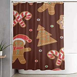 Befectar Hotel Quality Christmas Homemade Gingerbread Man Cookies Shower Curtain with 12 Plastic Holes - Easy Care Fabric - 70×70 Bathroom and Bathtubs Showers Curtains