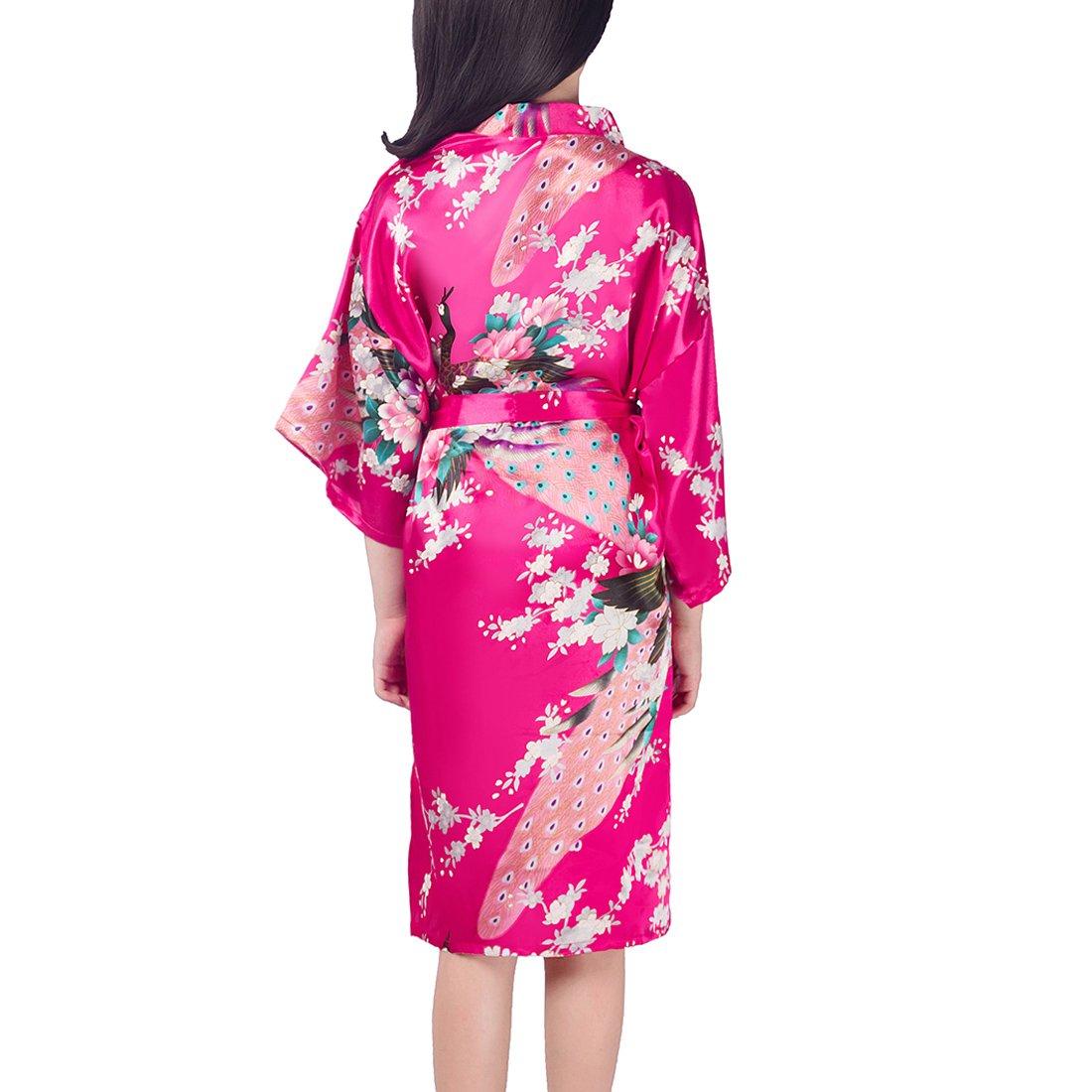 FAYBOX BRIDAL adatta per spa et/à dai 2 ai 12 anni con pavoni e fiori vestaglia satinata per bambina stile kimono