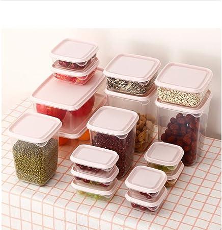 MRCOCO Caja De Almacenamiento De Plástico Caja De Almacenamiento De Alimentos De Refrigerador Grande Transparente con Tapa Adecuada para Almacenamiento De Alimentos De Cocina (17 Paquetes),Verde: Amazon.es: Hogar