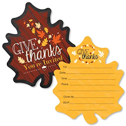 amazon com give thanks shaped fill in invitations thanksgiving