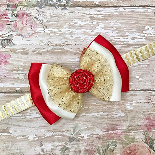 67496f258f821 Christmas Ivory Gold Glitter Red Baby Infant Headband, Xmas Red Gold Ivory  Holiday Handmade Hair Bow