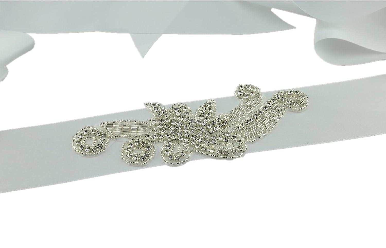SoarDream Bridal Dress Belt, Crystal Belt Bridal Wedding, White,Size(6.8x2inches).