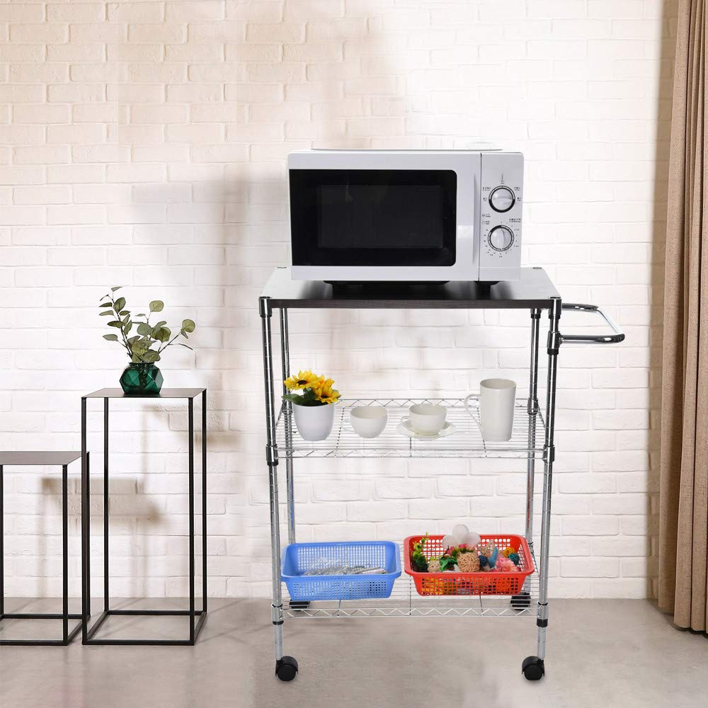 Tronet Kitchenware 4-Shelf Storage Rack Microwave Oven Holder Wheeled Trolley [Ship from USA Directly] by Tronet