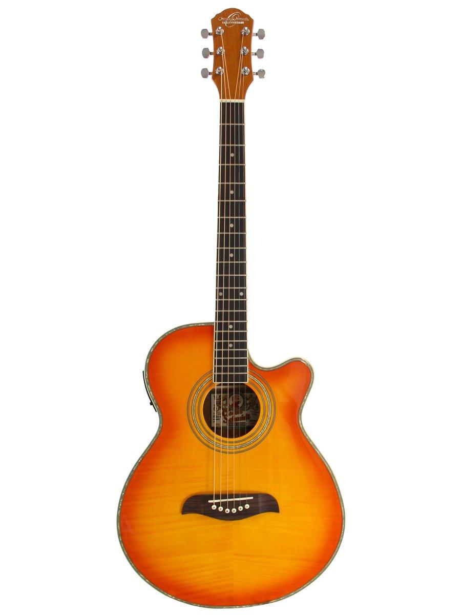Oscar Schmidt オスカーシュミット OG10CE Concert-Size Cutaway エレアコ - Flame Yellow Sunburst アコースティックギター アコギ ギター (並行輸入)   B000VMRECE