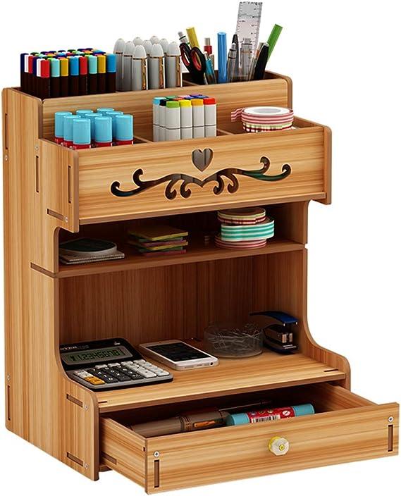 Schreibtisch Organizer Schreibwaren Fernbedienung Gro/ß Schublade Multifunktionale Organizer holz im B/üro Schlafzimmer Wohnzimmer f/ächer Schubladenbox