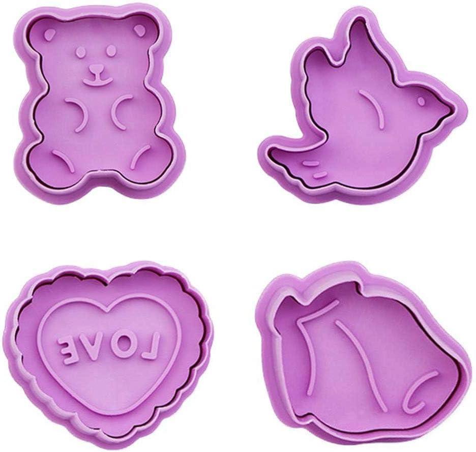 Sapphero - Juego de moldes para galletas, diseño de oso y pájaro en forma de rosa