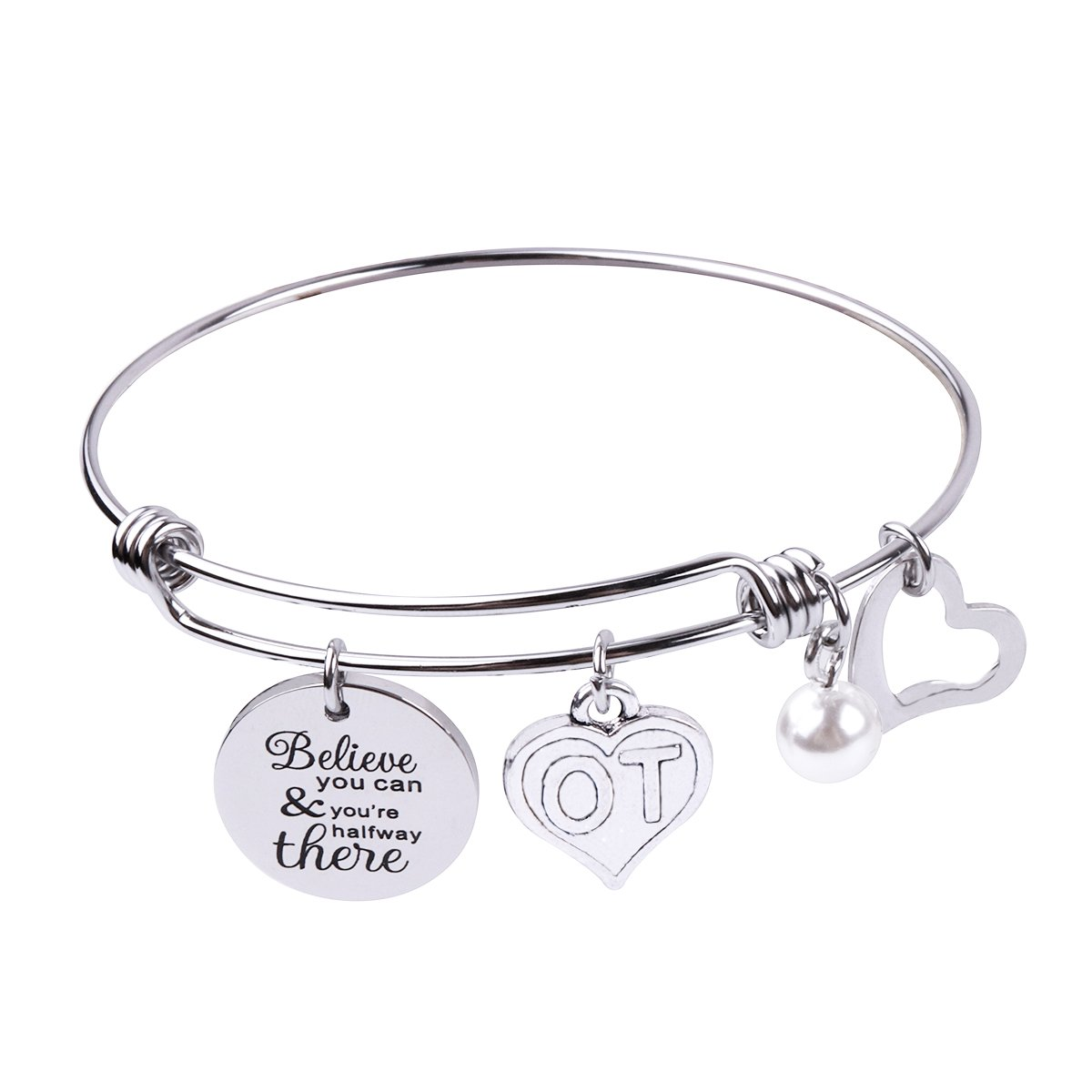 RUNXINTD Occupational Therapist Gifts Inspirational Jewelry Therapy Bracelet Believe you can and you're halfway there Graduation Gift OT Gift (OT Silver Bracelet)