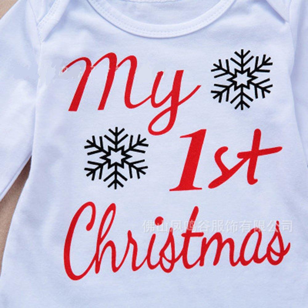 856dbc666 YULAN 3 Unids Bebé Mi Primera Navidad Ropa de Santa Conjunto Niño Recién  Nacido Bebé Niño Chica Ciervos Mameluco Tops + Pantalones + Trajes de  Sombrero ...