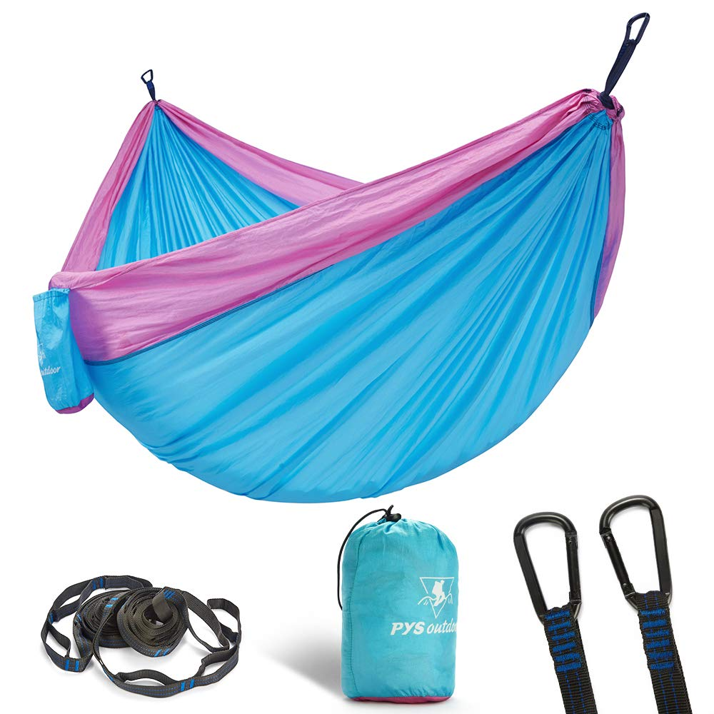 Travel pys Double Portable Camping Hammock with Straps Outdoor -Nylon Parachute Hammock with Tree Straps Set with Max 1200 lbs Breaking Capacity Lake Blue+Light Green for Backpacking Hiking