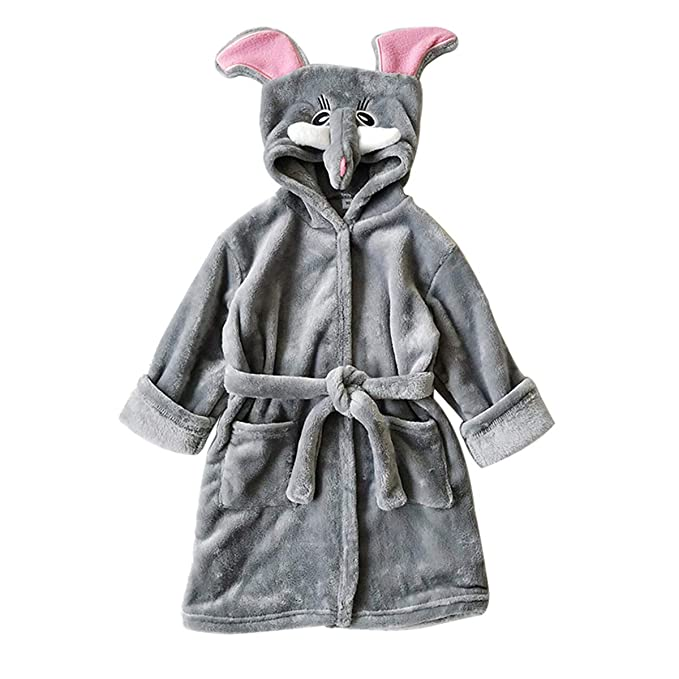 Kids Sleep Robe Girls Boys Bathrobes Baby Toddler Hooded Robe Sleepwear  Pajamas (African Elephant 14a330acd