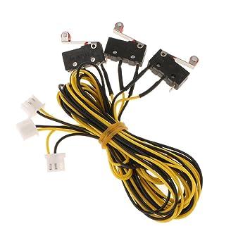 perfk 3piece Límite De Fin De Carrera Interruptor De Impresora Mecánica Cable De Impresora For3d - Amarillo+Negro-1000mm