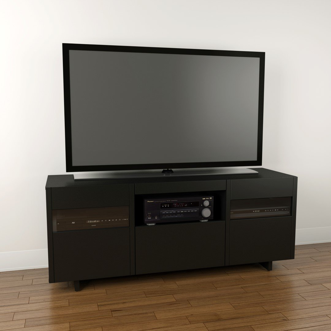 60 Tv Entertainment Center Part - 48: Amazon.com: Vision 60-inch TV Stand 101406 From Nexera, Black: Kitchen U0026  Dining