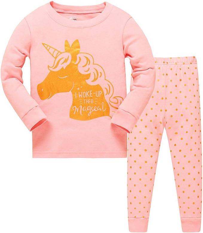 Unicornio Pijama Pijama de algodón para niña, 2 Piezas, Manga ...
