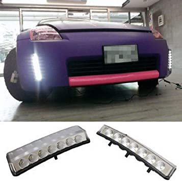 iJDMTOY Clear Lens LED Daytime Running Lights For 2003-2005 Pre-LCI Nissan 350z Direct Fit DRL Assy Powered by 7 Pieces High Power Xenon White LED Each Side