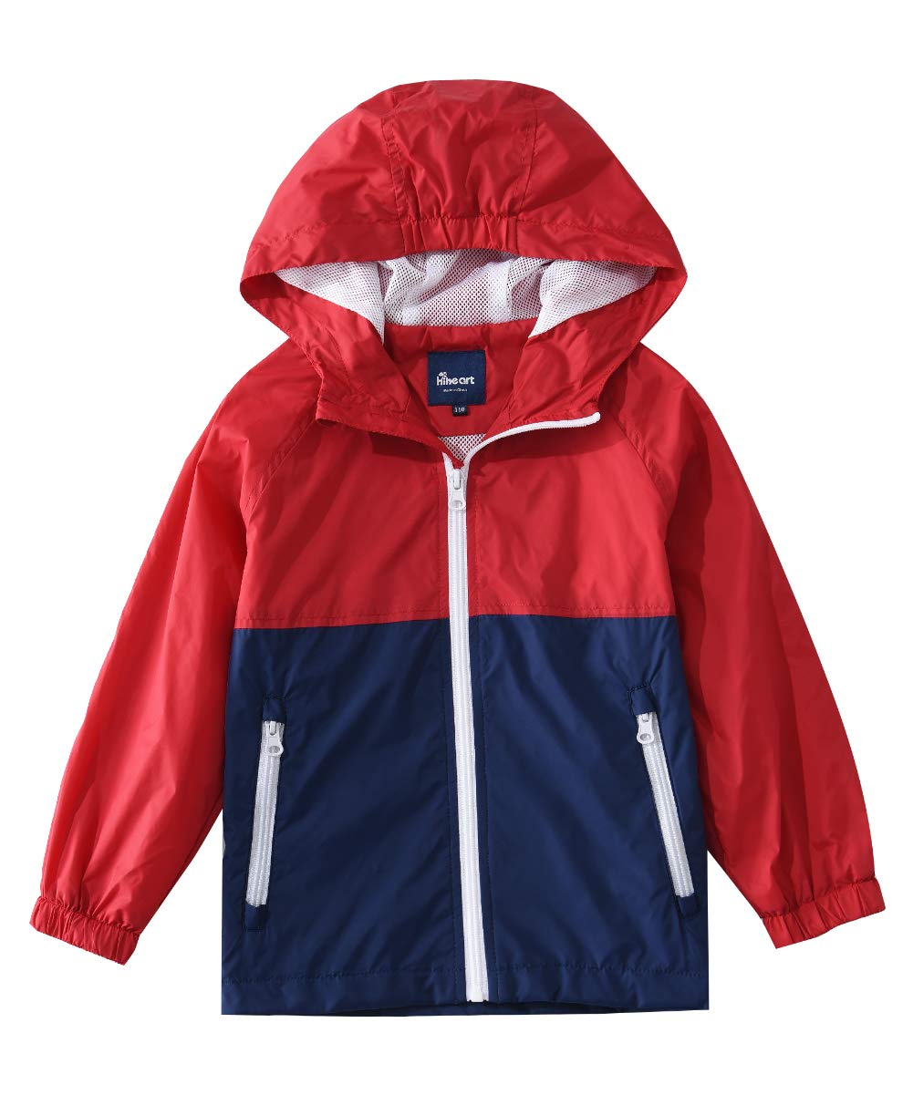 Hiheart Girls Summer Lightweight Hooded Jackets Spring Outdoor Windbreaker Red Navy 5/6