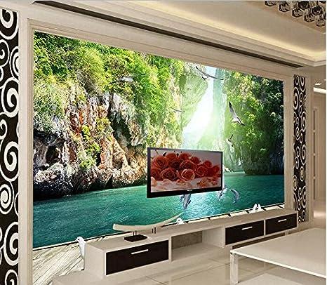 Huytong 3D Papel Pintado Sala De Estar Dormitorio Pegatinas De Pared Mural Configuración De La Tabla De Natación De Los Delfines 200Cmx140Cm|78.74(In) ...