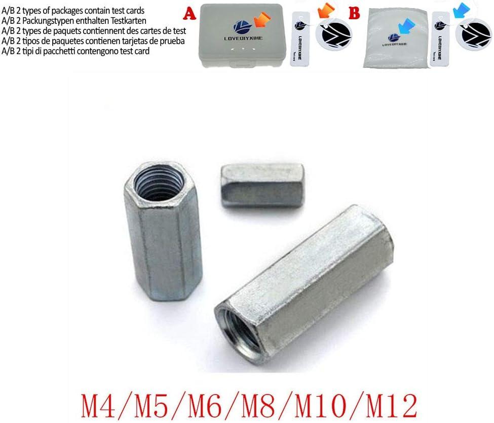 2 5 pi/èces en acier avec zinc M3 M4 M5 M6 M8 M10 M12 /Écrou hexagonal long///écrou de raccordement filet/é