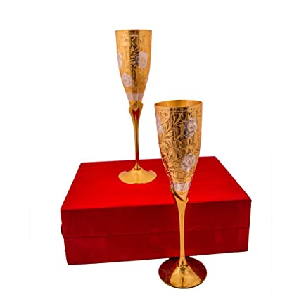 Ac Anand Crafts Silver And Gold Plated Brass Wine Glass Set For Diwali Gift Amazon In Home Kitchen