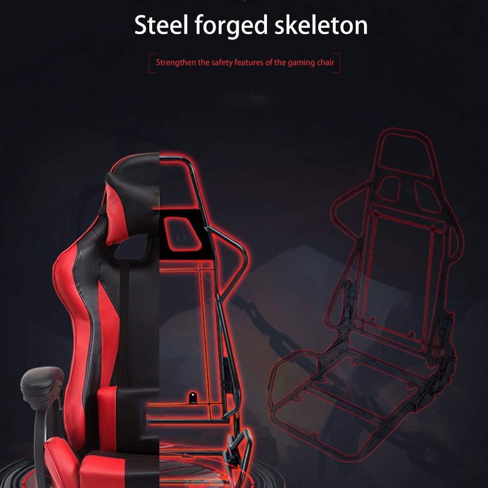 JIEER-C stol svängbar stol racerstol, hög rygg spelstol höjd justerbar kontorsstol multifunktion verkställande stol med nackstöd och ryggstöd, röd blå