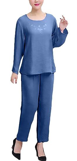 Pijamas Mujer Tallas Grandes Elegante Manga Larga Cuello Redondo Color Sólido Niñas Ropa Tops+Largo