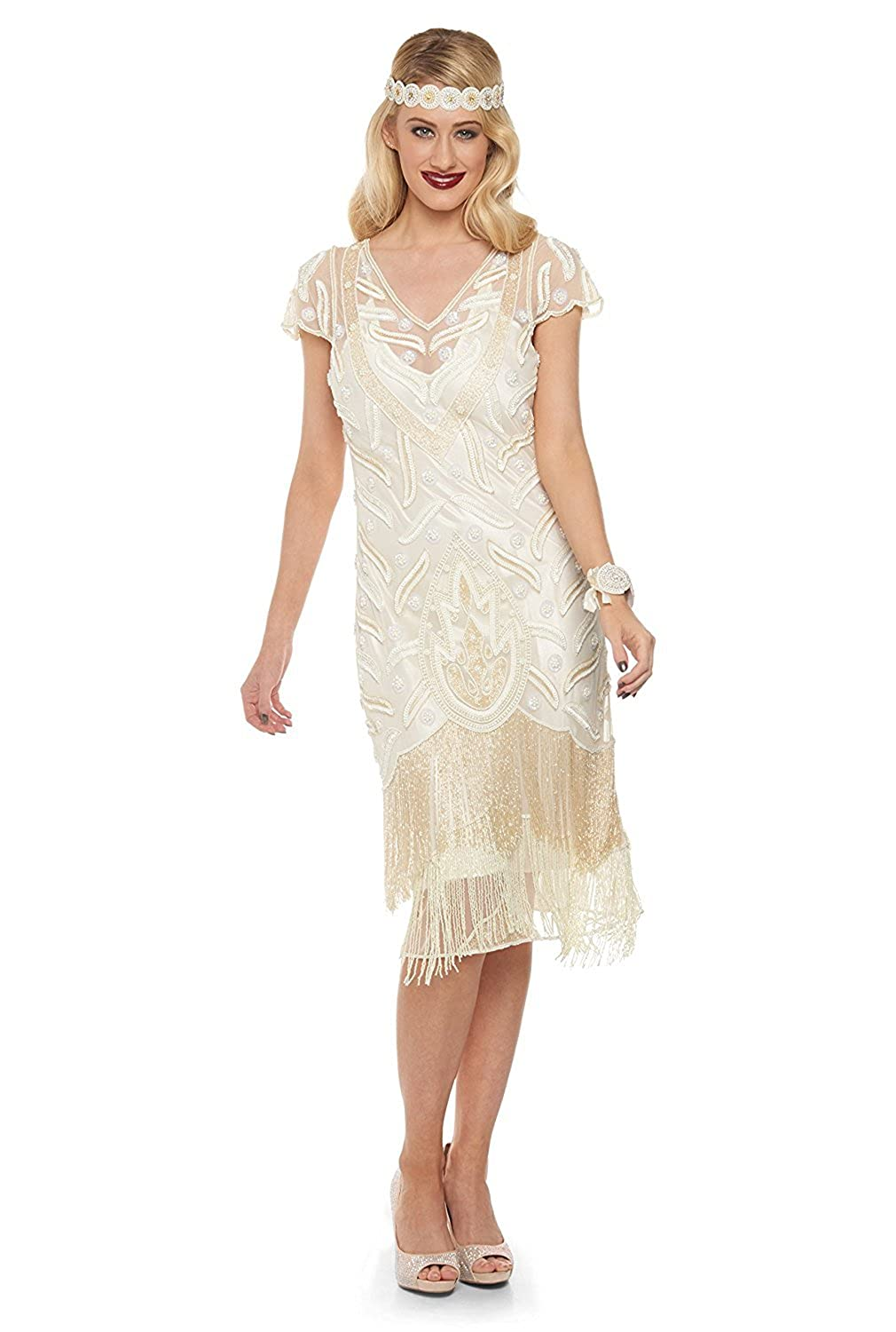 1920s Style Dresses, Flapper Dresses Vegas Vintage Inspired Fringe Dress in Cream £139.00 AT vintagedancer.com