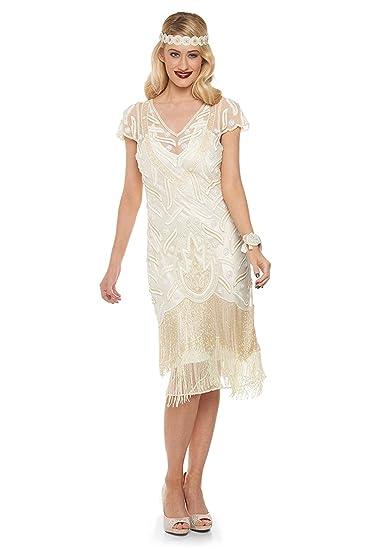 Vegas Vintage Inspired Fringe Dress in Cream (US4 EU36)