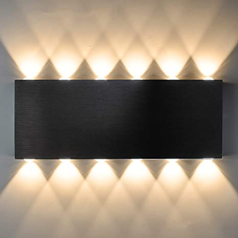 Amazon Com Bjour Modern Wall Sconces Black 24w Led Wall Sconce Hardwired Indoor Up Down Wall Lamp 12 6 Inch Home Theater Lights For Bedroom Living Room Hallway Warm White Not Dimmable Home Improvement