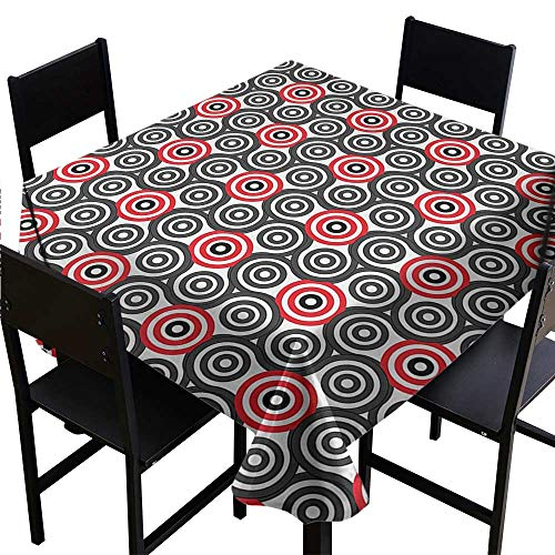 Tablecloth Square Geometric Circle,Interlace Spiral Labyrinth Blind Oval Linked Mosaic Artistic Image Print,Red Black,W54 x L54 Square Tablecloth