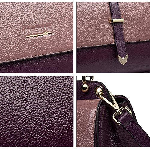 Handle Genuine Women Designer Leather shoulder 181 Tote Handbags purple Bags Purse FIGESTIN Top 8Aq5g1x5