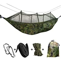 LISSO 2 Person Hammock with Mosquito Net, Single or Double Hammock Bug Net, Easy Assembly, Portable Outdoor Hammock for Trees Backyard, Camping, Backpacking, Survival, Travel & More (Camouflage)