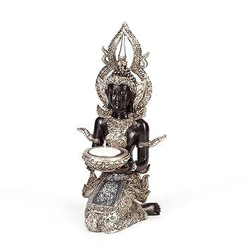 Buddha Teelichthalter Dekofigur Kerzenhalter Skulptur Asien Figur Deko Feng Shui
