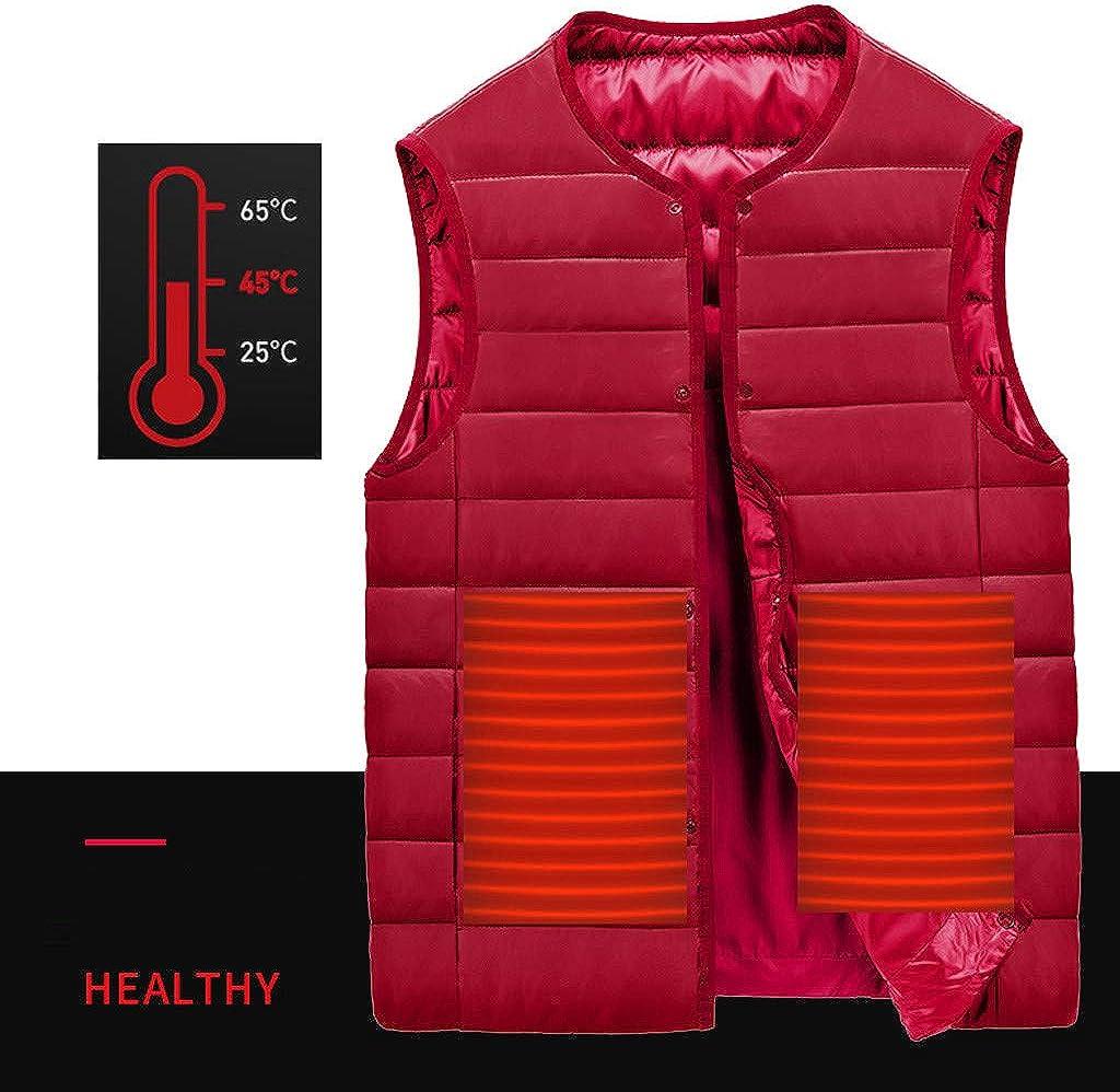 Zilosconcy Mens Heated Vest 5V USB Charging Heating Jacket vest Lightweight Slim Fit Warm Heated Waistcoat Winter Electric Heat button Gilets