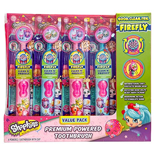 Firefly Power Protect Battery Toothbrush with Antibacterial Character Cap - Shopkins (Pack of -