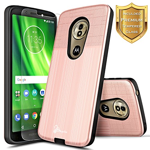 Motorola Moto E5 Case (XT1920DL), Moto G6 Play / G6 Forge Case w/[Tempered Glass Screen Protector] NageBee [Brushed] Premium Heavy Duty Armor Defender Dual Layer Shockproof Hybrid Case -Rose Gold