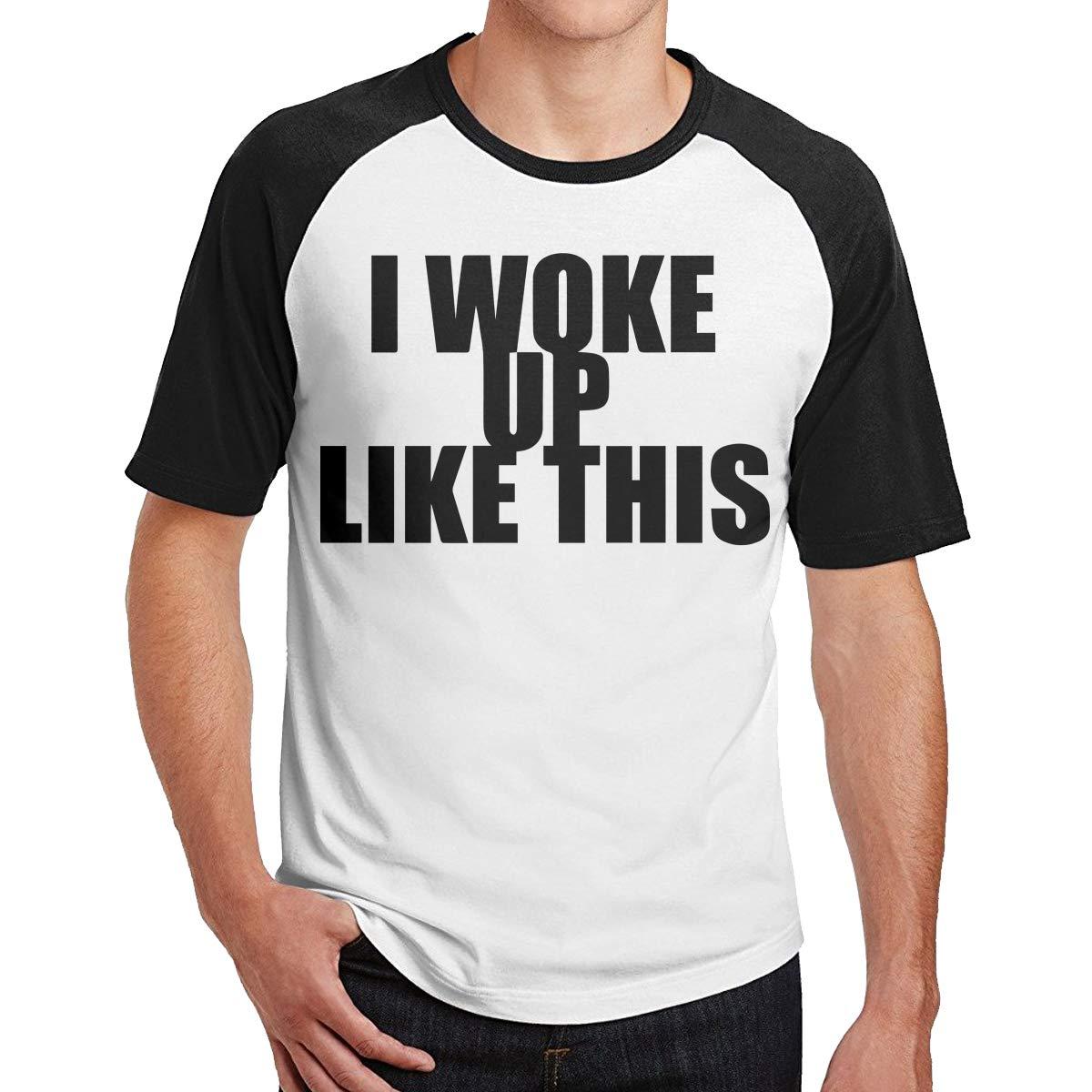 I Woke Up LiKE This Black tshirt fashion model