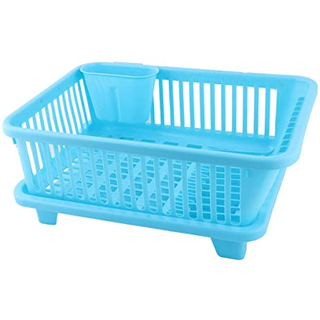 uxcell Plastic Kitchen Drainer Cutlery Side Water Outlet Plate Rack Organizer Set Blue  sc 1 st  Amazon.com & Amazon.com: uxcell Plastic Kitchen Drainer Cutlery Side Water Outlet ...
