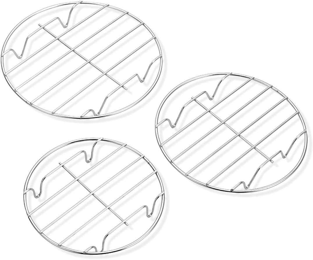 """3 Pack Cooling Steaming Cake Rack, 6""""/7""""/8"""" round cooling rack, Stainless Steel Round Rack, for Air Fryer/Stockpot/Pressure Cooker/Round Cake Pan, Healthy & Dishwasher Safe"""