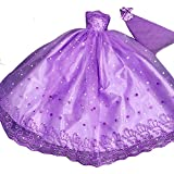 Purple Wedding Dress Handmade Doll Clothes Doll Dress Doll Gauze Dress
