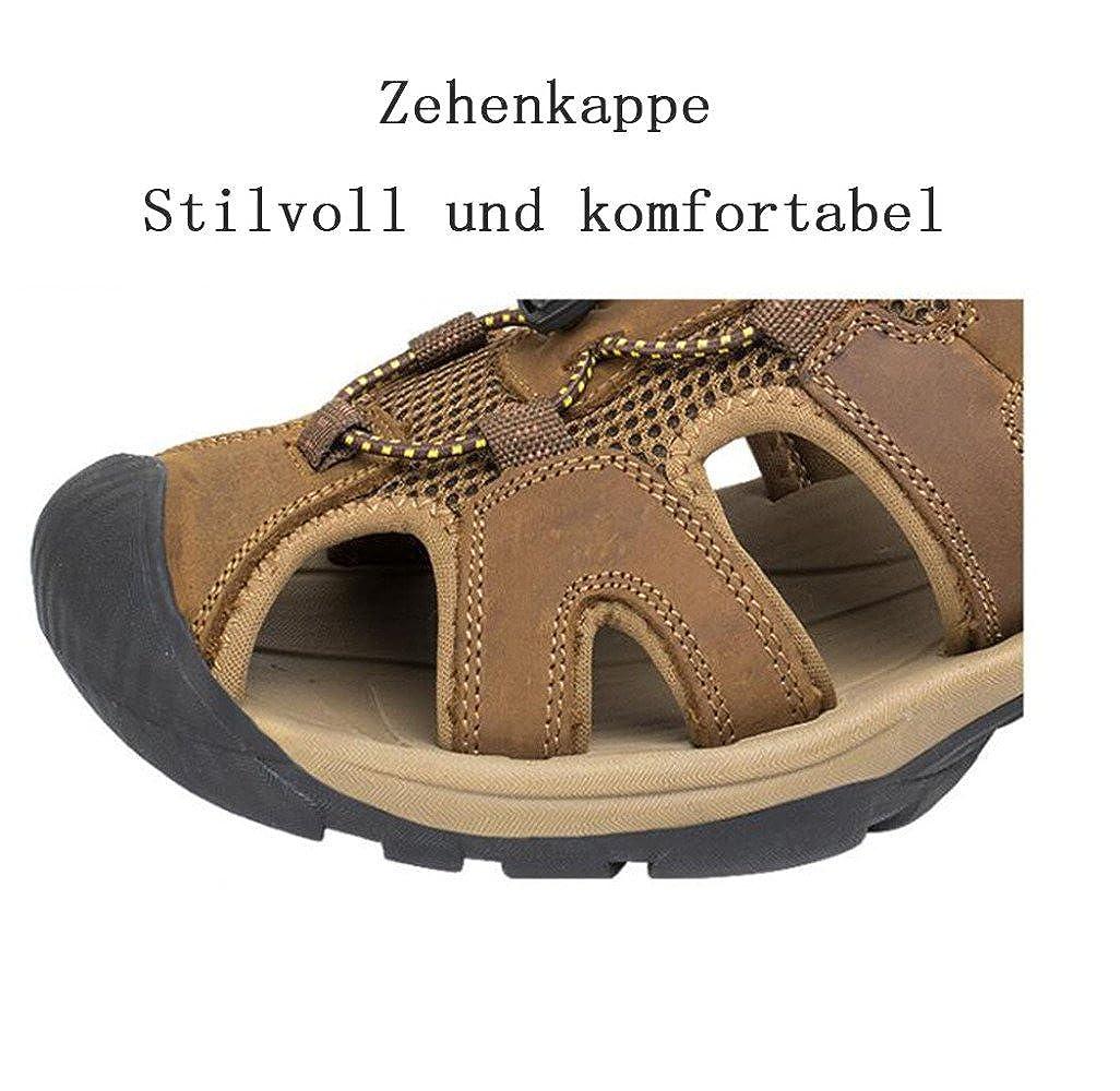 Sandalen Oxford Schuhe Leder Atmungsaktiv Outdoor-Strand Schuhe Herrenmode Sandalen Hohl Atmungsaktiv Leder LightBraun ce3cf2