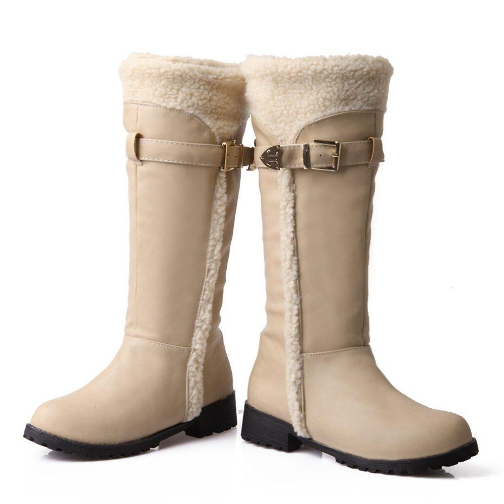 RizaBina Women Comfort Warm Lined Winter Tall Boots Belt B076BKBNRS 9 US = 25.5 CM|Beige