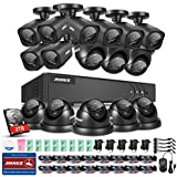 ANNKE 16CH HD-TVI 1080N Surveillance DVR System with 2TB Surveillance Hard Disk Drive and (16) 1.0MP 720p Weatherproof CCTV Cameras (8 Bullets+8 Domes)