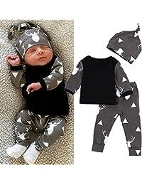 Baby Boy 3Pcs Outfit Set, Cute Deer Printed Long Sleeve T-Shirt Top +Pants+Hat Clothes Set